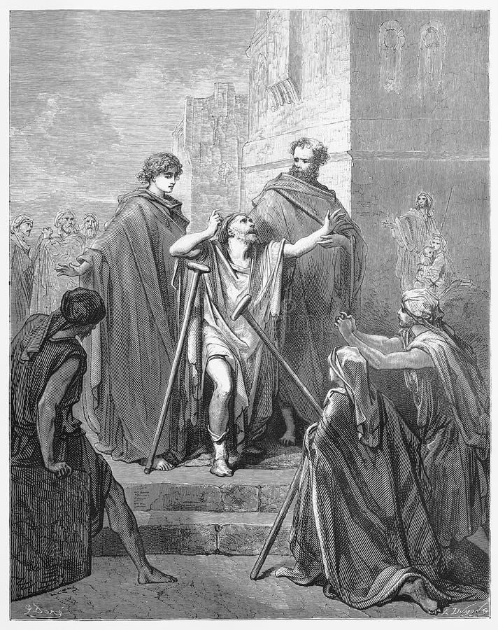 Peter en John Cure een Lamémens stock illustratie