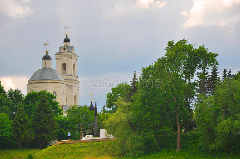 Peter en Paul Cathedral in Tarusa, Kaluga-gebied, Rusland royalty-vrije stock foto's