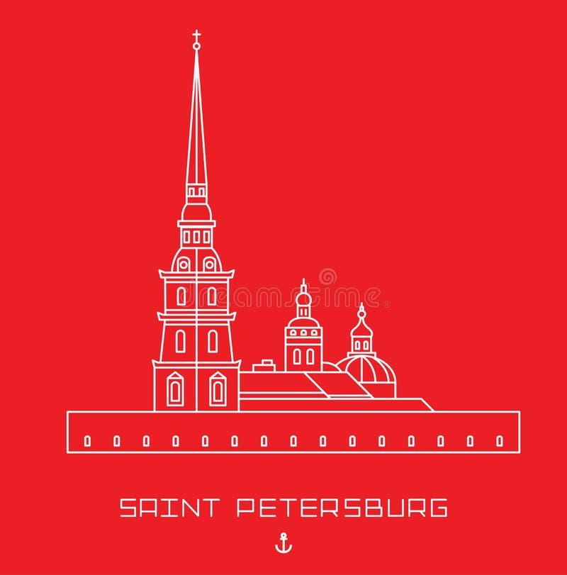 Peter en van Paul Cathedral - van Heilige Petersburg architecturaal monument Eenvoudige lijn getrokken vorm vector illustratie