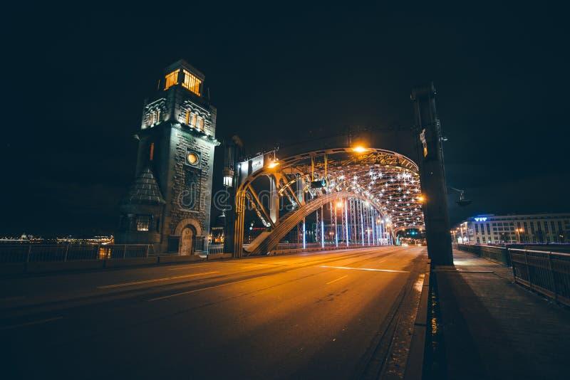 Peter The Great Bridge, St Petersburg, Rússia imagem de stock