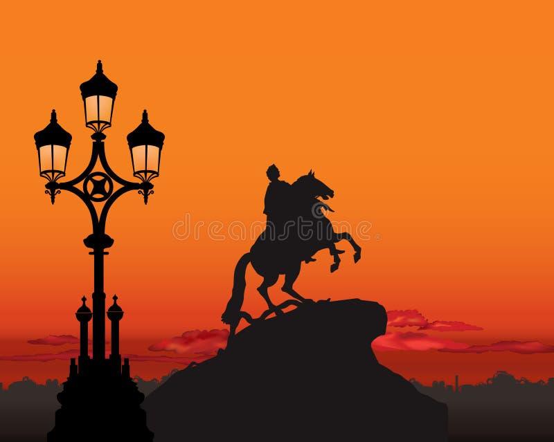 Peter het Grote Monument, het oriëntatiepunt van Heilige Petersburg, Rusland ST royalty-vrije illustratie
