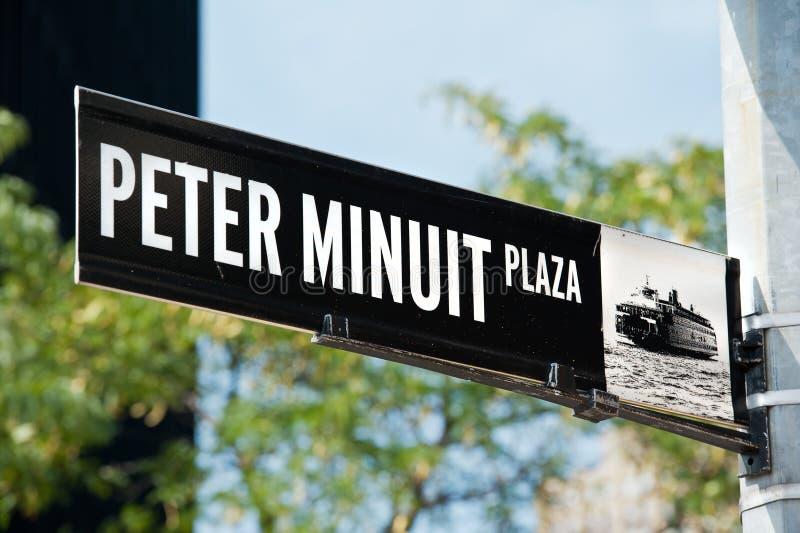 Peter Minuit Plaza New York royaltyfria bilder