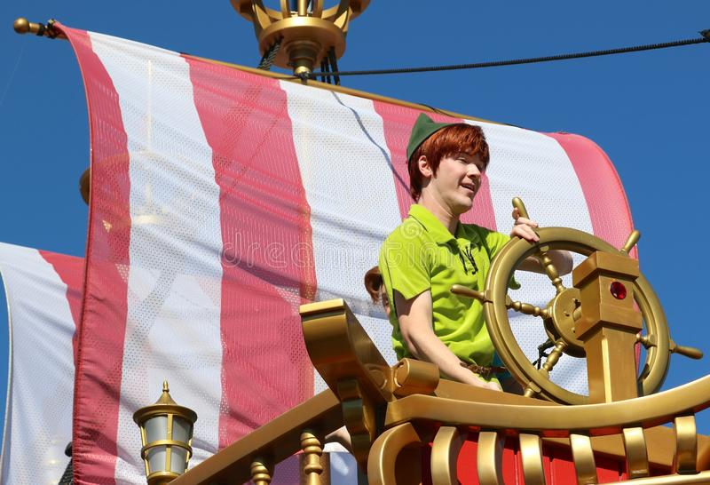 Peter Pan at Disney world. Peter Pan rides a ship at Disney's Magic Kingdom stock images