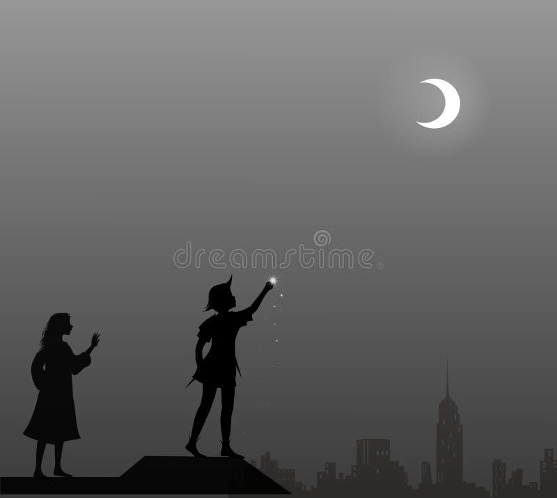 Peter Pan en Wendy op het dak, paar, royalty-vrije illustratie