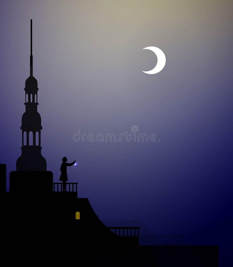Peter Pan en Wendy op het dak, peter pan vliegen, paar, royalty-vrije illustratie