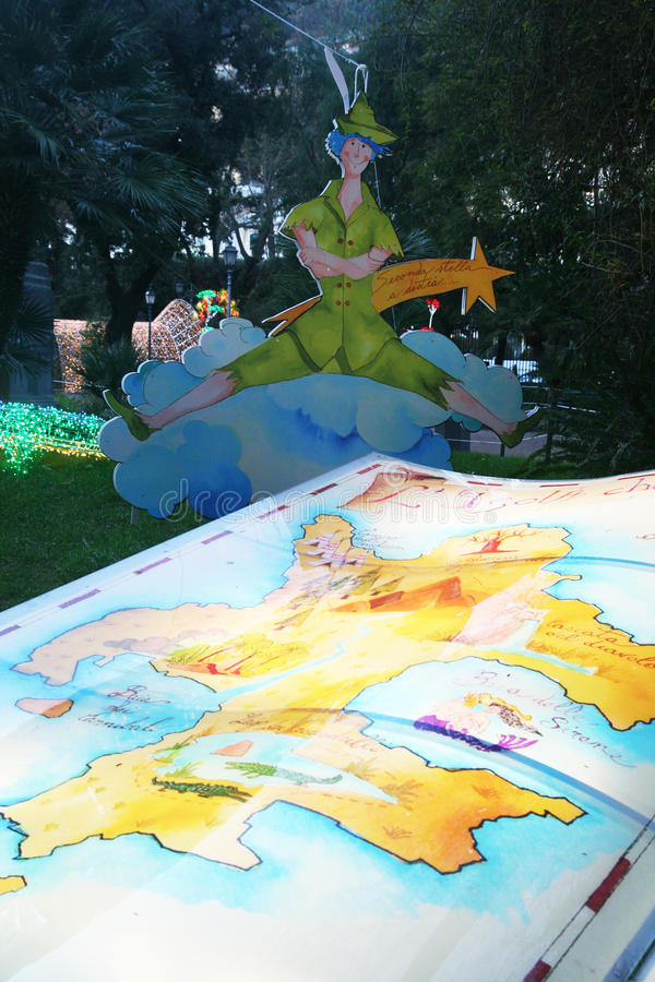 Peter pan. The fairy tale of peter pan decoration inside the public garden of salerno in italy royalty free stock photo