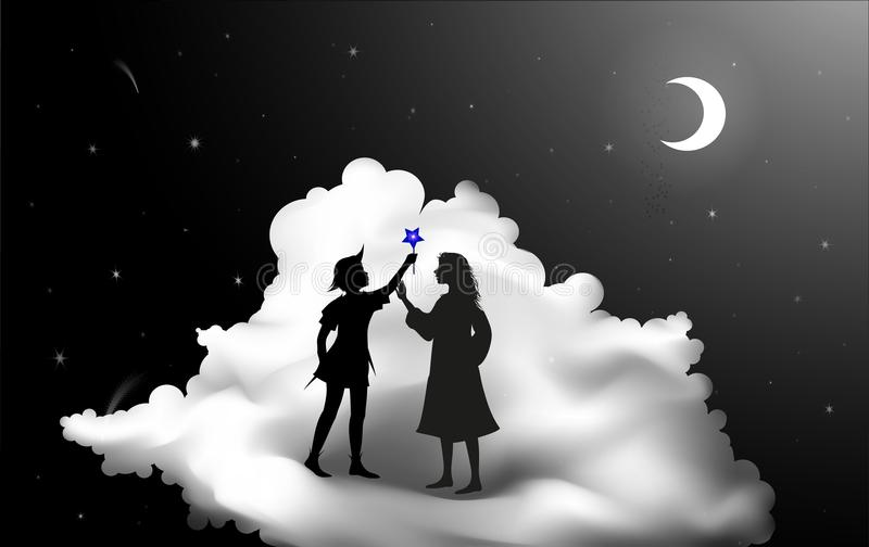 Peter Pan story, Peter Pan and Wendy standing on the cloud, fairy night,. Silhouette royalty free illustration