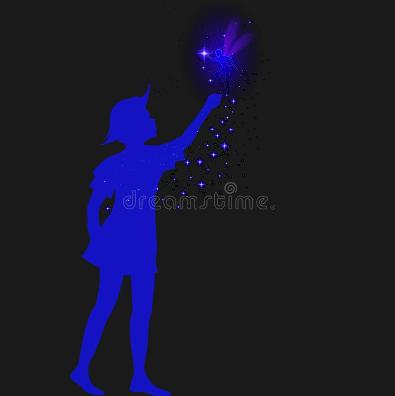 Peter pansilhouet met fee en blauwe sparckle, vector illustratie