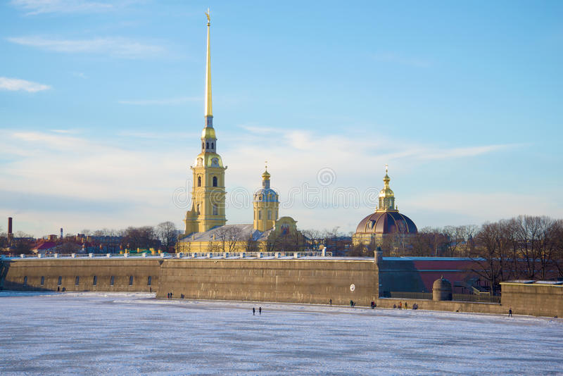 Peter and Paul Cathedral in Peter and Paul fortress in January day. Saint Petersburg, Russia stock photography
