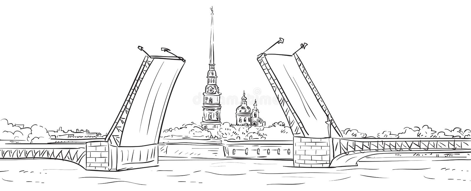 Peter and Paul Fortress. Drawbridge, symbol of Saint Petersburg, Russia. Hand drawn illustration. Isolated background royalty free illustration