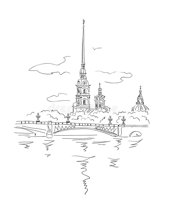 Peter and Paul Fortress in Spb. Vector sketch St.-Petersburg View from Neva river on Peter and Paul Fortress in Spb, Russia royalty free illustration