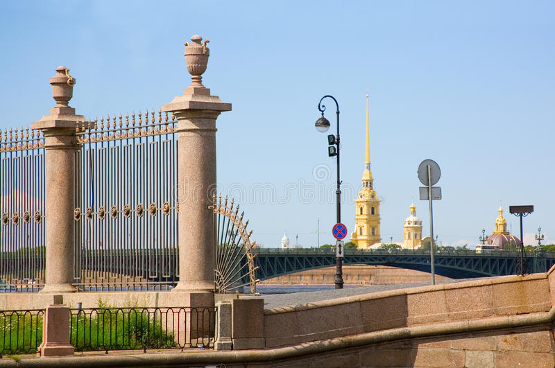 Peter and Paul Fortress and Summer Garden grill stock image
