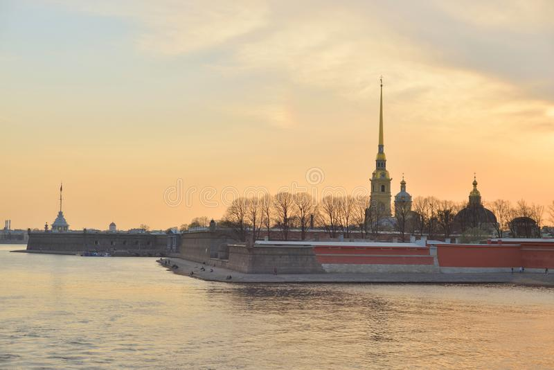 Peter and Paul Fortress at sunset royalty free stock image