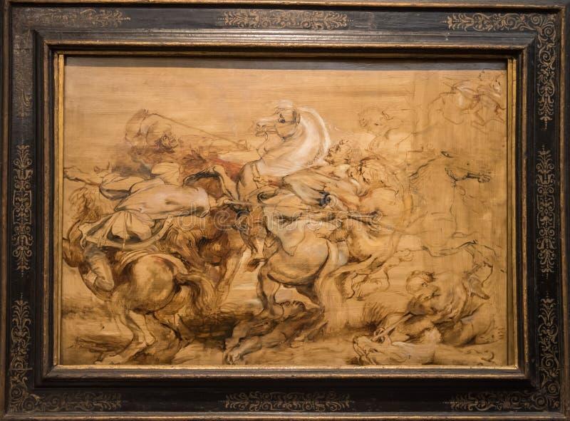 Peter Paul Rubens a-lejonjakt arkivbilder