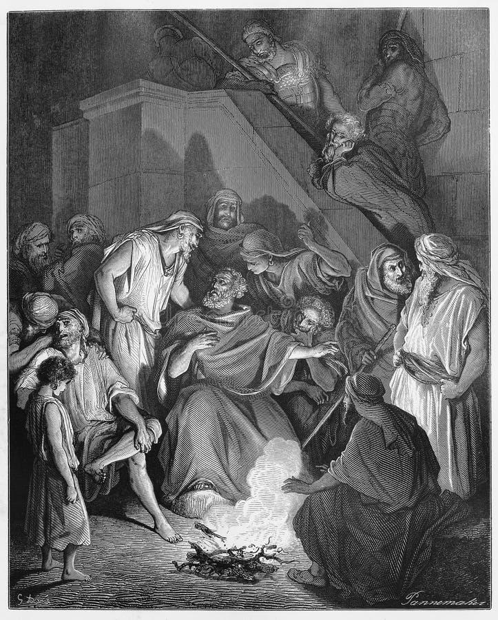 Peter refuse connaître Jésus illustration de vecteur