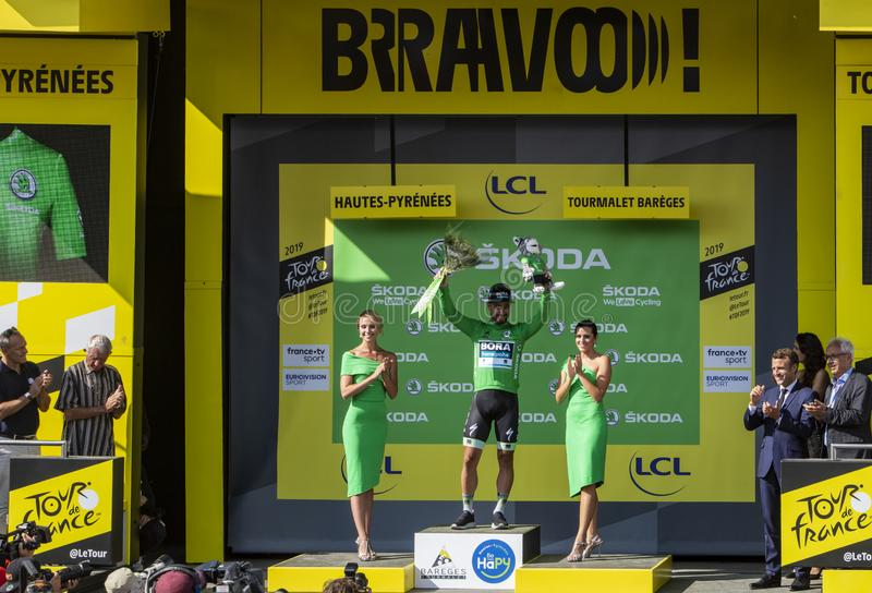 Peter Sagan Celebrates the Green Jersey on Col du Tourmalet - Tour de France 2019. Col du Tourmalet, France - July 20, 2019: The Slovak cyclist Peter Sagan stock images