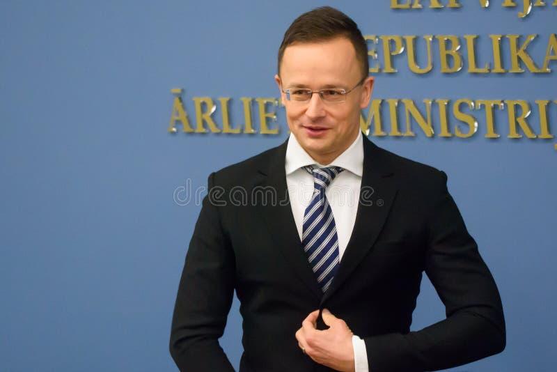 Peter Szijjarto, minister van Buitenlandse Zaken en Handel van Hongarije royalty-vrije stock fotografie