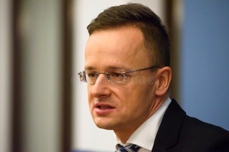Peter Szijjarto, minister van Buitenlandse Zaken en Handel van Hongarije stock afbeelding
