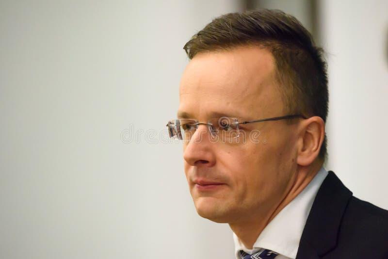 Peter Szijjarto, minister van Buitenlandse Zaken en Handel van Hongarije stock afbeeldingen