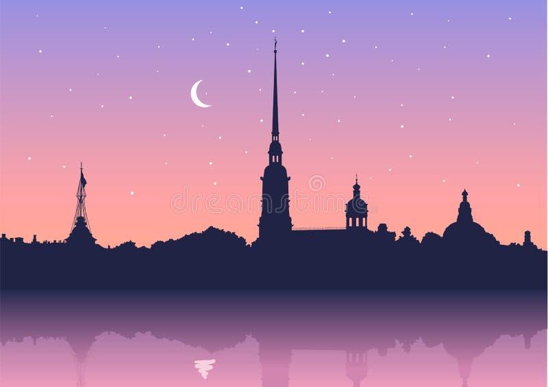 Peter- und Paul-Festung, St Petersburg, Russland Ansicht von Neva-Fluss Russischer Stadtbildschattenbild-Vektorhintergrund stock abbildung