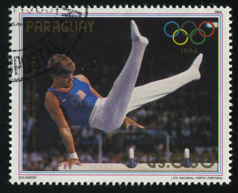 Peter Viomar, gold medalist at Summer Olympic Games in Los-Angeles stock photos