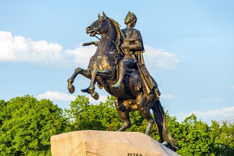 Peter Wielki zabytek (Brązowy jeździec) zdjęcie stock