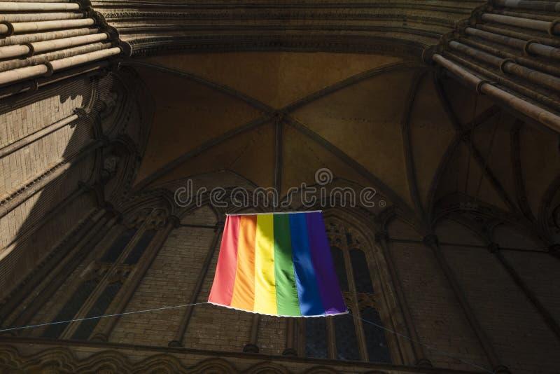 Peterborough Cambridgeshire, UK, Juli 2019, en sikt av en stolthetflagga som hänger från den Peterborough domkyrkan royaltyfri foto