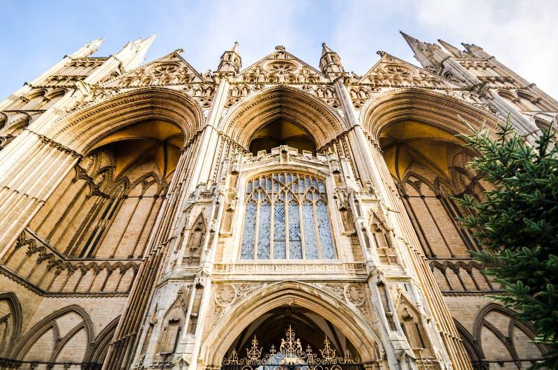 Peterborough Cathedral är en monastisk katedral i Cambridgeshire, England arkivfoto