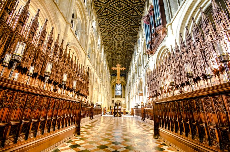 Peterborough Cathedral är en monastisk katedral i Cambridgeshire, England royaltyfri fotografi