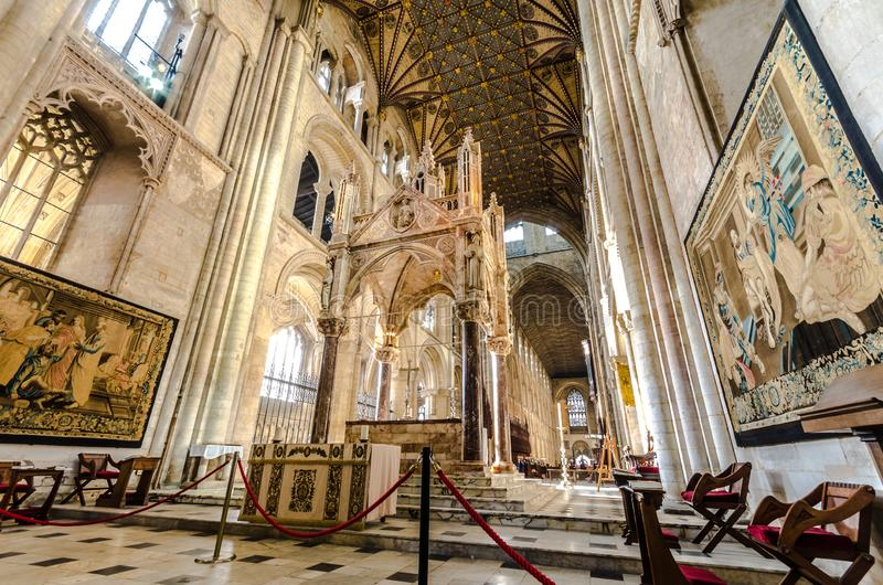 Peterborough Cathedral is een monastische kathedraal in Cambridgeshire, Engeland royalty-vrije stock afbeeldingen