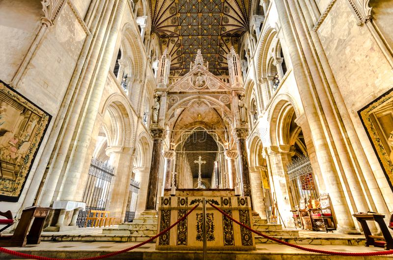 Peterborough Cathedral is een monastische kathedraal in Cambridgeshire, Engeland royalty-vrije stock afbeelding