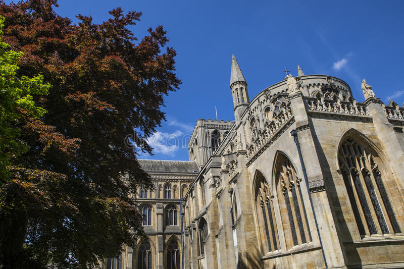 Peterborough Cathedral in the UK stock photos