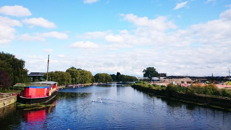 Peterborough flod Nene royaltyfria bilder