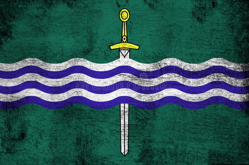 Peterborough Ontario. Grunge and dirty flag illustration. Perfect for background or texture purposes vector illustration