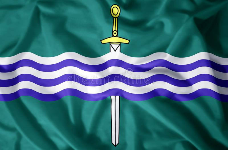 Peterborough Ontario. Stylish waving and closeup flag illustration. Perfect for background or texture purposes stock illustration
