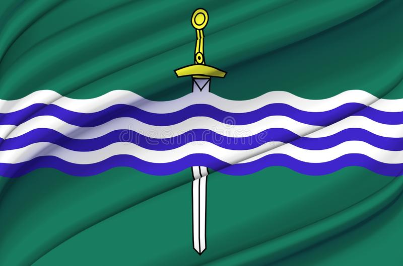 Peterborough Ontario waving flag illustration. States, cities and Regions of Canada. Perfect for background and texture usage stock illustration
