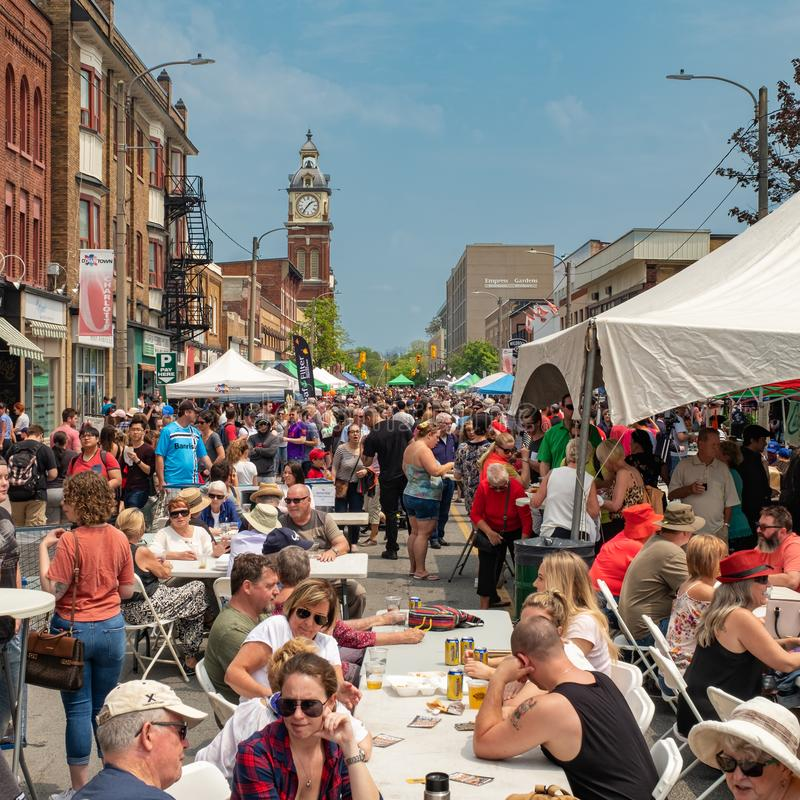 Peterborough Street Festival - Taste of Downtown. Peterborough, Ontario, Canada - June 1, 2019:  The annual Peterborough `Taste of Downtown` food festival, takes royalty free stock images