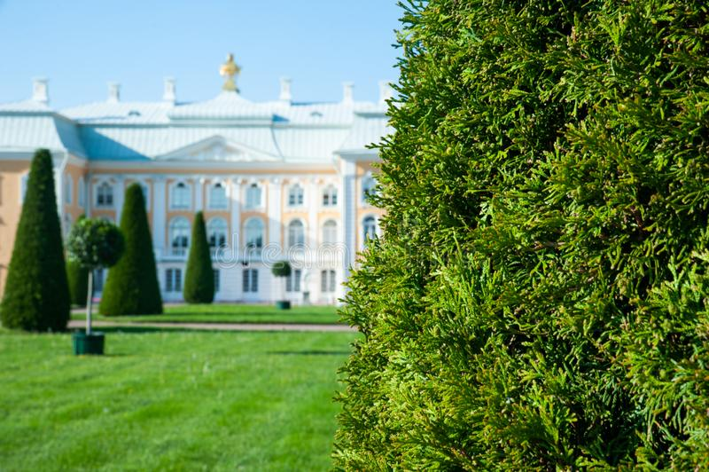 Peterhof, ΑΓΙΟΣ ΠΕΤΡΟΥΠΟΛΗ, ΡΩΣΙΑ - 6 ΙΟΥΝΊΟΥ 2019: Μεγάλο παλάτι Peterhof στον ανώτερο κήπο Peterhof, στοκ φωτογραφία