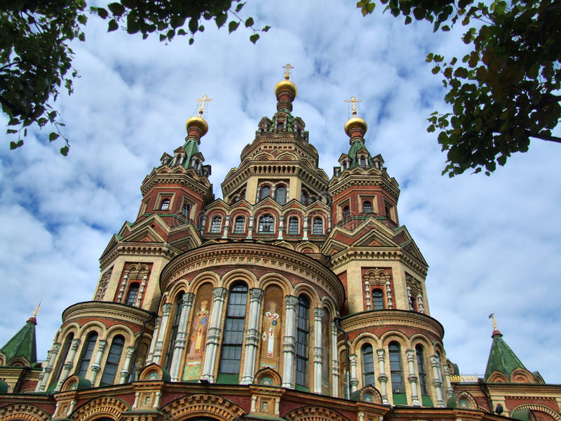 Peterhof. St. Peter and Paul's church in the Russian city of Peterhof near St. Petersburg royalty free stock photography