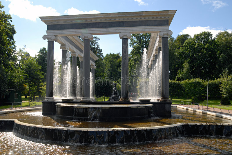 Peterhof fountain. Lion cascade. royalty free stock image
