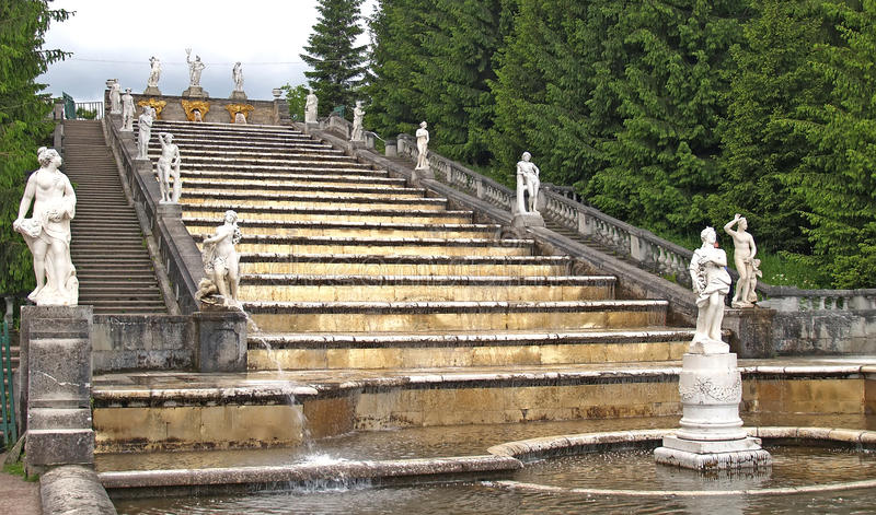 Peterhof. The Gold Mountain cascade in Marley park royalty free stock image