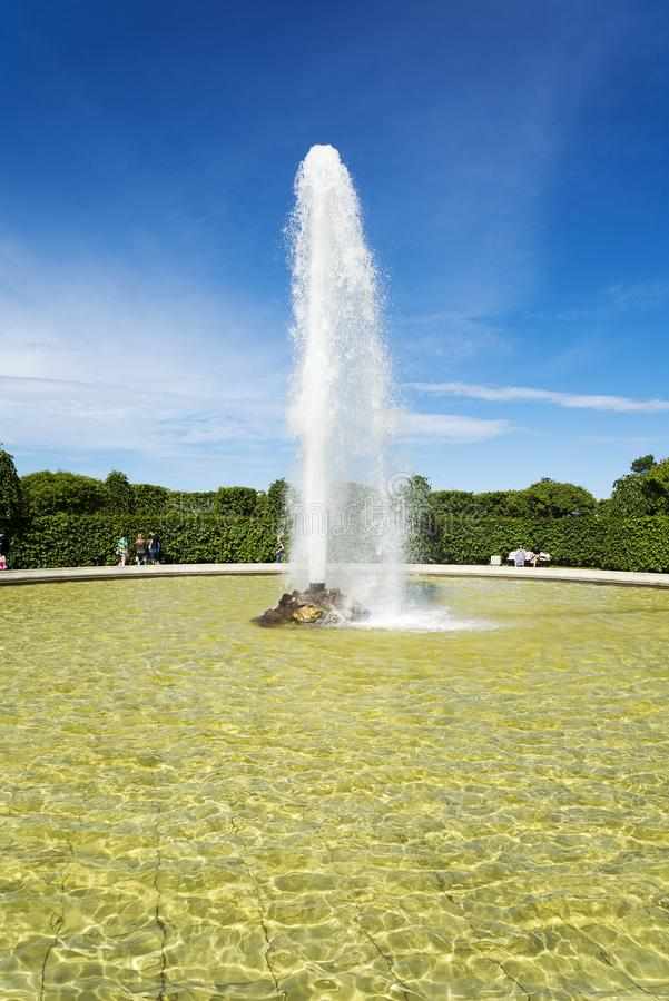 Peterhof, the Menagerie fountain in the Lower Park. Russia attractions Peterhof July 4, 2018 year stock photography