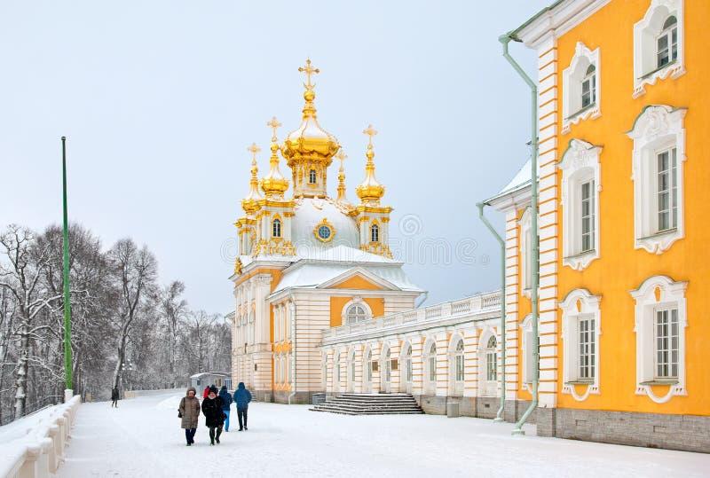 Peterhof Rússia A igreja do palácio imagens de stock