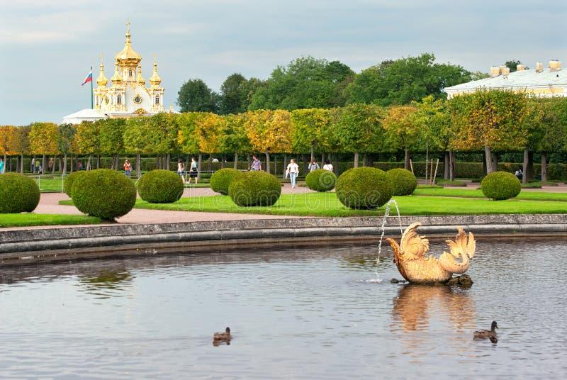 Peterhof Rússia O jardim superior fotos de stock