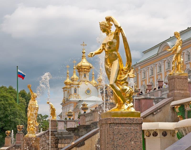 peterhof Rosja kaskadowy uroczysty peterhof obraz royalty free