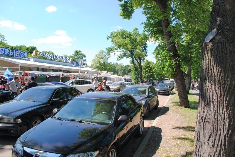 PETERHOF ROSJA, LIPIEC, - 01, 2011: Peterhof samochodowy parking fotografia stock