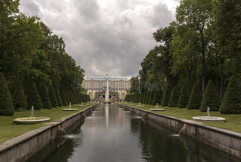 Peterhof, Russia, 08 aug 2019. View of the canal and the Palace.  royalty free stock photo
