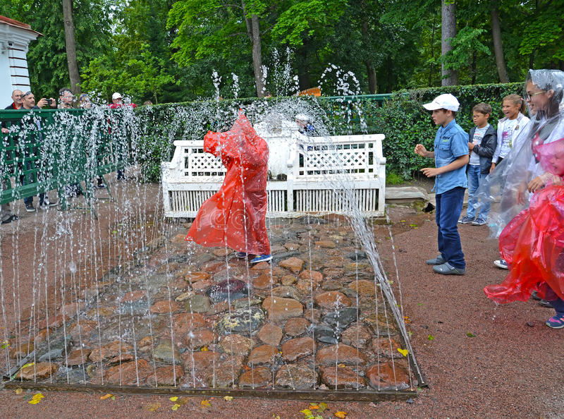 peterhof russia Bänkspringbrunnsmällaren i den Monplezirsky trädgården royaltyfria foton