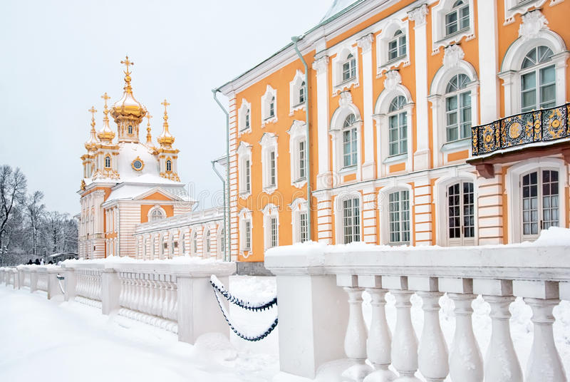 Peterhof. Russia. The Grand Palace and Palace Church stock photos