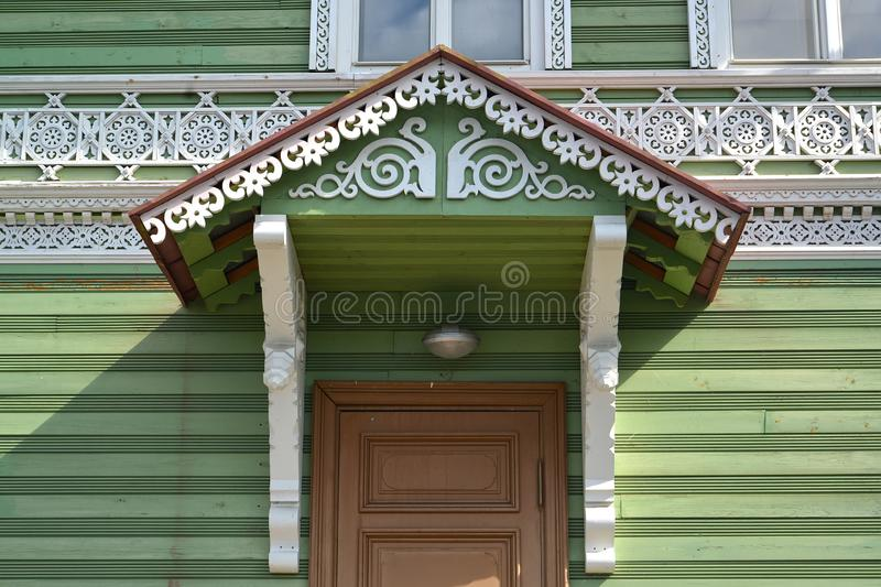 PETERHOF, RUSSIA. A wooden carved peak over an entrance to the building of the former estate of I.A. Khrushchev 1870-1889 royalty free stock images